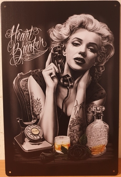Marilyn Monroe Whiskey telefoon heart breaker Reclamebord