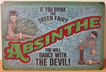Absinth dance with the devil Reclamebord metaal