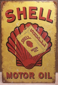 Shell Motor Oil  Reclamebord metaal