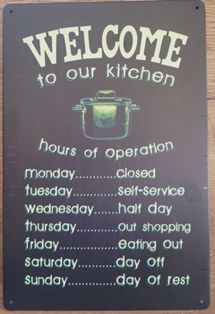Welcome to our Kitchen Menu reclamebord van metaal