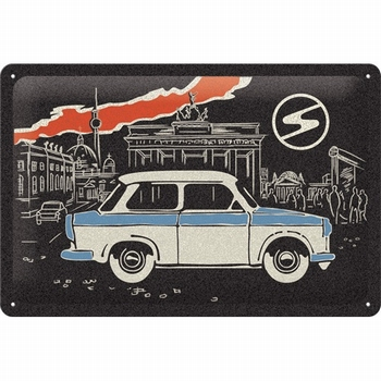 Trabant Berlin black metalen relief reclamebord