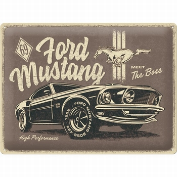 Ford mustang The Boss relief reclamebord
