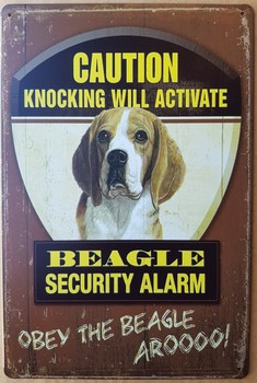 Beagle hond security  alarm metalen bord