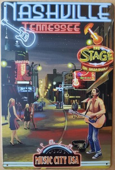 Nashville Tennessee music city USA metalen reclamebord