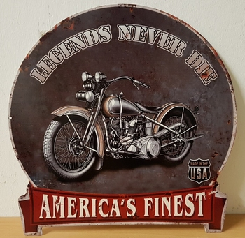Legends never die usa motor metalen wandbord