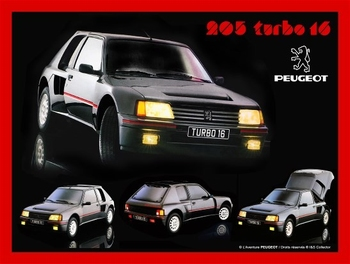 Peugeot 205 Turbo 16 metalen wandbord relief