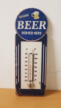 Ice cold beer thermometer glas blauw