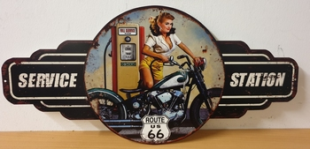 Service station route 66 pin up uitgesneden metalen