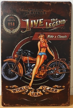 Live the Legend motor reclamebord metaal